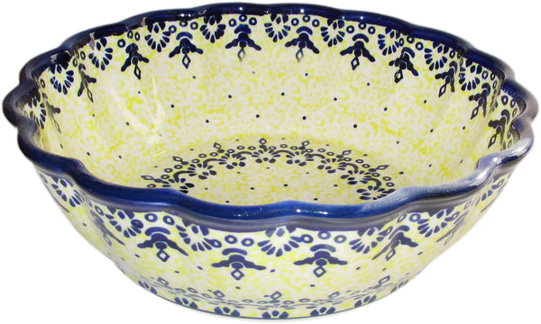 "Boleslawiec Polish Pottery UNIKAT Medium Scalloped Serving Bowl ""Lace"""