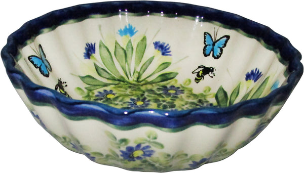 "Boleslawiec Polish Pottery UNIKAT Medium Scalloped Bowl ""Serenity"""