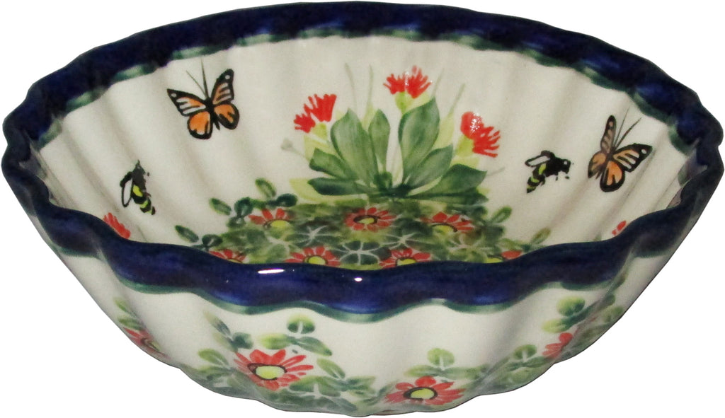 "Boleslawiec Polish Pottery UNIKAT Medium Scalloped Bowl ""Spring"""