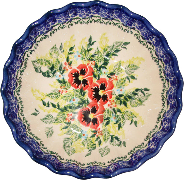 "Boleslawiec Polish Pottery UNIKAT Medium Scalloped Bowl ""Summer Day"""