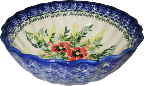 "Boleslawiec Polish Pottery UNIKAT Ice Cream Scalloped Bowl ""Summer Day"""