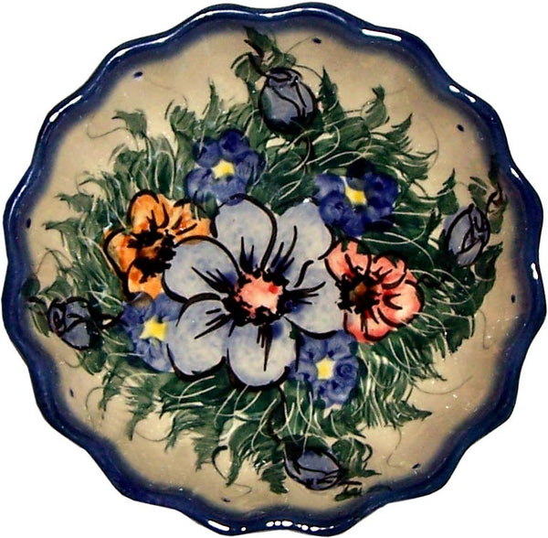 "Boleslawiec Polish Pottery UNIKAT Ice Cream Scalloped Bowl ""Wild Field"""
