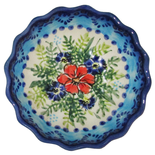 "Boleslawiec Polish Pottery UNIKAT Ice Cream Scalloped Bowl ""Veronica"""