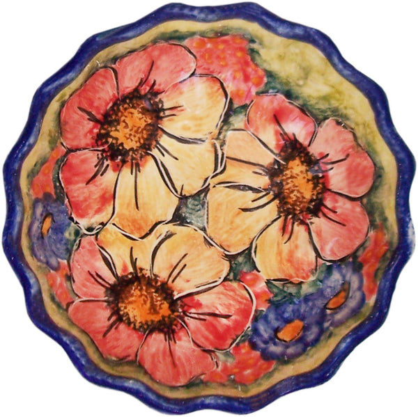 "Boleslawiec Polish Pottery UNIKAT Ice Cream Scalloped Bowl ""Flower Field"""