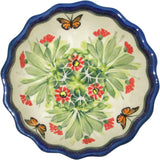 "Boleslawiec Polish Pottery UNIKAT Ice Cream Scalloped Bowl ""Spring"""