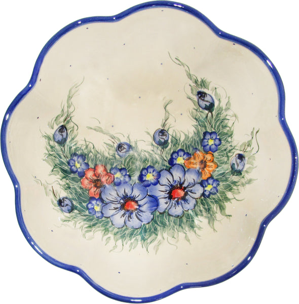 "Boleslawiec Polish Pottery UNIKAT XLarge Scalloped Bowl ""Wild Field"""