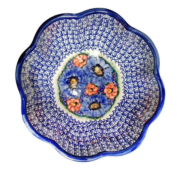 "Boleslawiec Polish Pottery UNIKAT XLarge Scalloped Bowl ""Isabelle"""