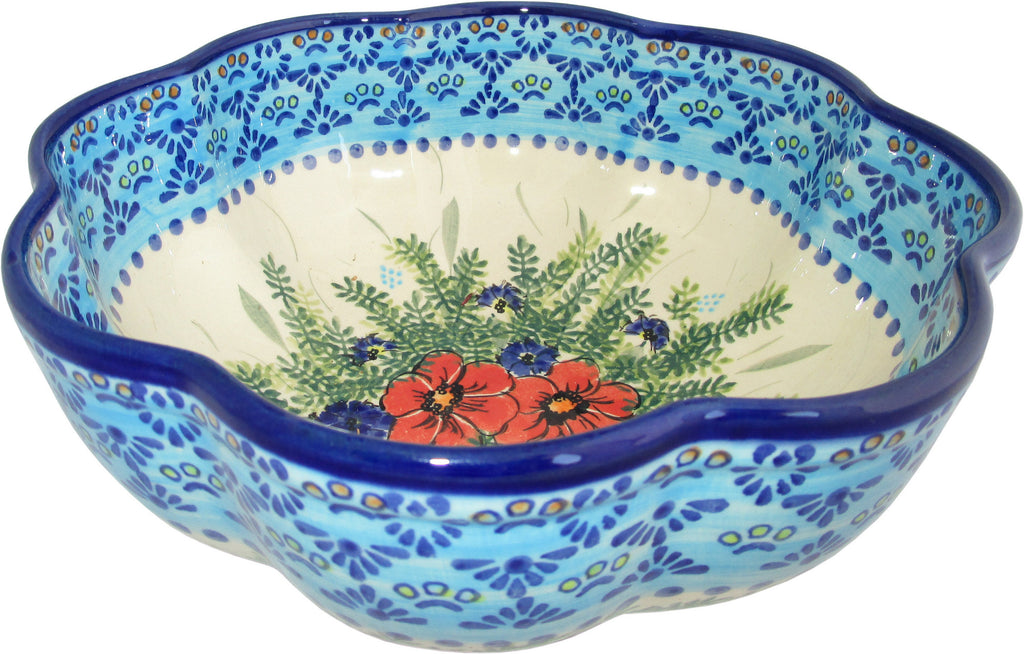 "Boleslawiec Stoneware Polish Pottery UNIKAT XLarge Scalloped Bowl ""Veronica"""