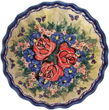 "Boleslawiec Polish Pottery UNIKAT Medium Scalloped Bowl ""Wild Roses"""