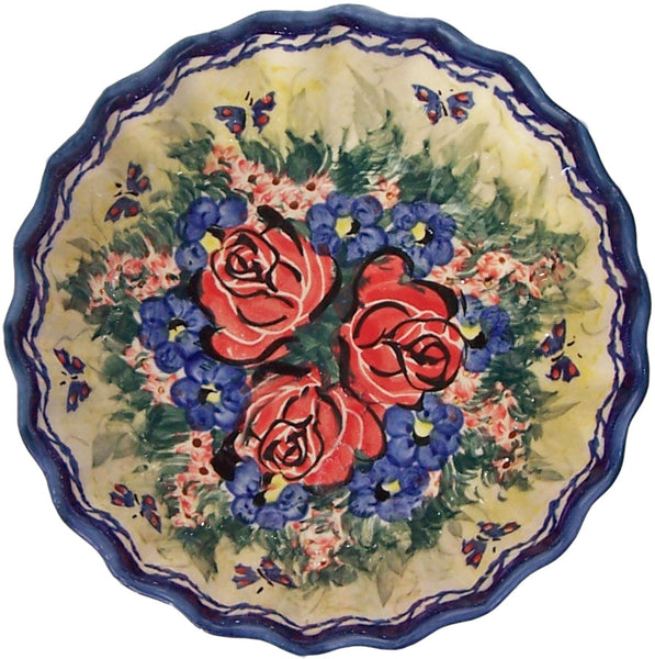 "Boleslawiec Polish Pottery UNIKAT Ice Cream Scalloped Bowl ""Wild Roses"""