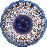 "Boleslawiec Polish Pottery UNIKAT Ice Cream Scalloped Bowl ""Blue Garden"""