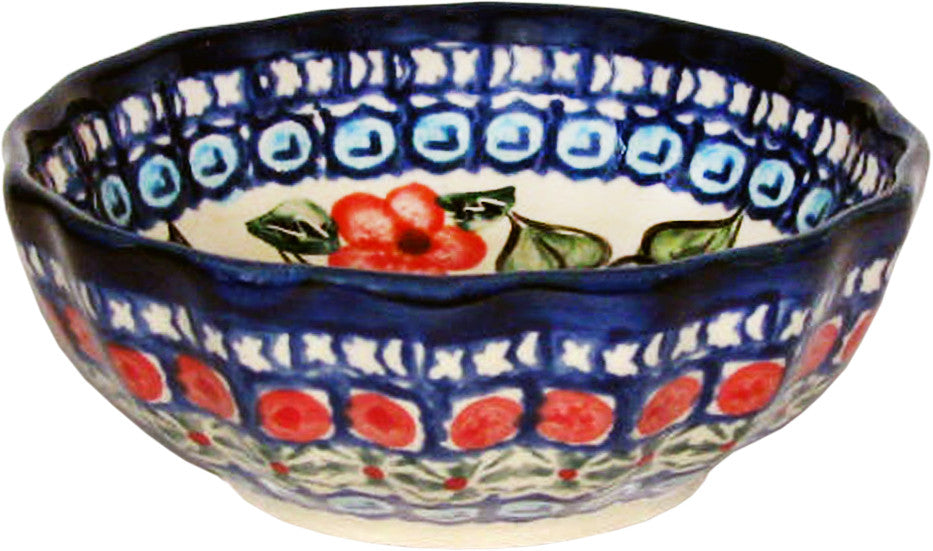 "Boleslawiec Polish Pottery UNIKAT Ice Cream Scalloped Bowl ""Patricia"""
