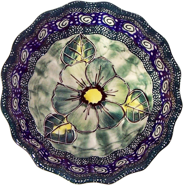 "Boleslawiec Polish Pottery UNIKAT Ice Cream Scalloped Bowl ""Green Garden"""