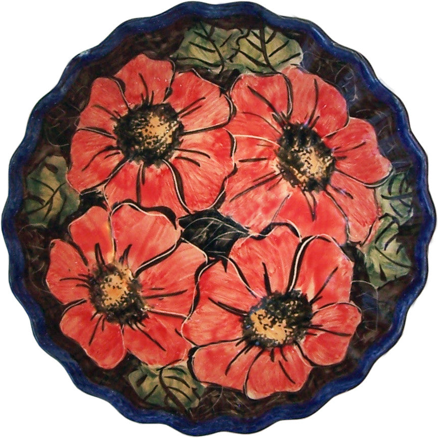 "Boleslawiec Polish Pottery UNIKAT Medium Scalloped Bowl ""Red Garden"""
