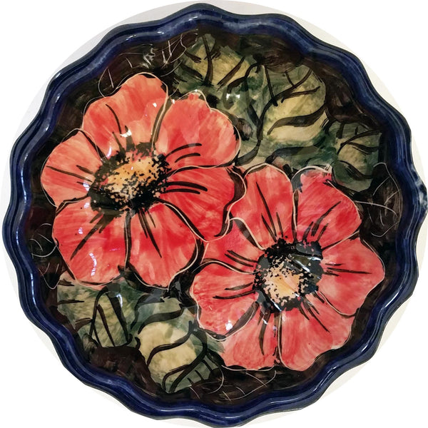 "Boleslawiec Polish Pottery UNIKAT Ice Cream Scalloped Bowl ""Red Garden"""