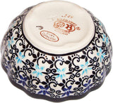 "Boleslawiec Polish Pottery UNIKAT Ice Cream Scalloped Bowl ""Martina"""