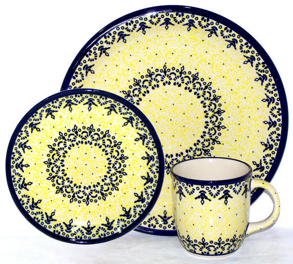 "Boleslawiec Polish Pottery UNIKAT 3 Pcs Place Setting ""Lace"""