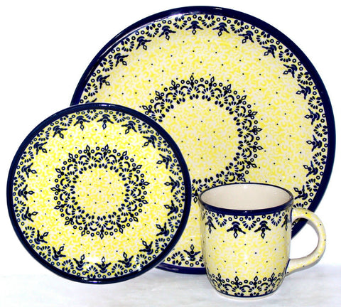 Boleslawiec Polish Pottery UNIKAT 3 Pcs Place Setting
