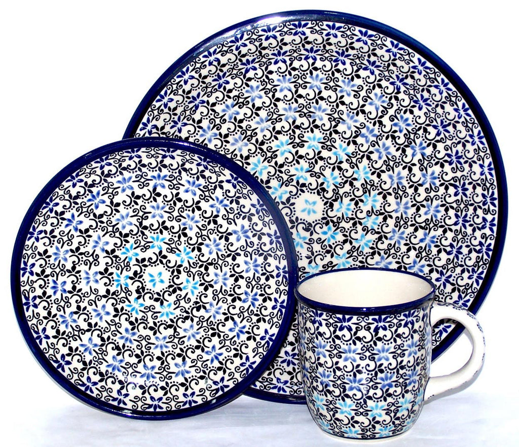 "Boleslawiec Polish Pottery UNIKAT 3 Pcs Place Setting ""Martina"""
