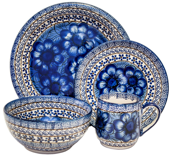 "Boleslawiec Polish Pottery UNIKAT Dinnerware 4 Pcs Place Setting ""Blue Garden"""