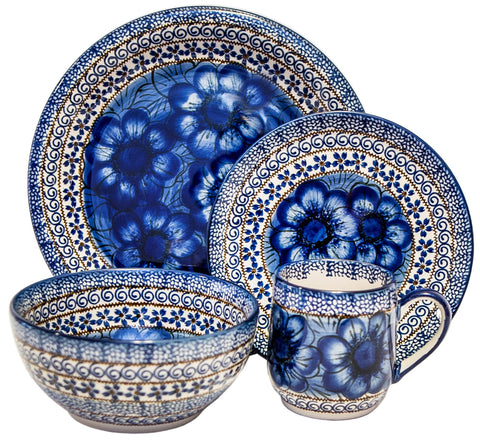 Boleslawiec Polish Pottery UNIKAT Dinnerware 4 Pcs Place Setting