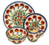 "Boleslawiec Polish Pottery UNIKAT Dinnerware 4 Pcs Place Setting ""Poppy Field"""