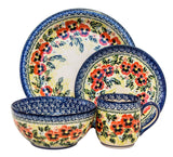 "Boleslawiec Polish Pottery UNIKAT Dinnerware 4 Pcs Place Setting ""Summer Day"""