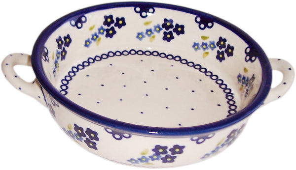 "Boleslawiec Polish Pottery UNIKAT Round Baker with Handles ""Forget Me Not"""