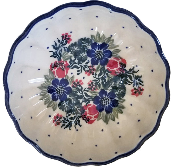 Boleslawiec Polish Pottery UNIKAT Small Scalloped Bowl 1535