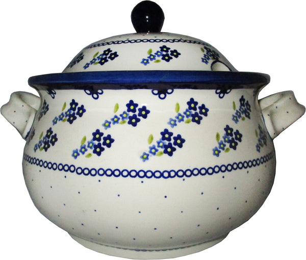 "Boleslawiec Polish Pottery UNIKAT Soup Tureen or Baker 5L ""Forget Me Not"""