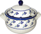"Boleslawiec Polish Pottery UNIKAT Soup Tureen or Baker 3L ""Forget Me Not"""