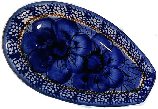 "Boleslawiec Polish Pottery UNIKAT Spoon Rest ""Blue Garden"""