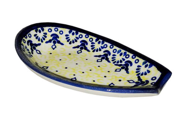 "Boleslawiec Polish Pottery UNIKAT Spoon Rest ""Lace"""