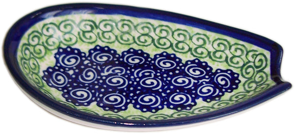 "Boleslawiec Polish Pottery UNIKAT Spoon Rest ""Alex"""