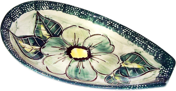 "Boleslawiec Polish Pottery UNIKAT Spoon Rest ""Green Garden"""