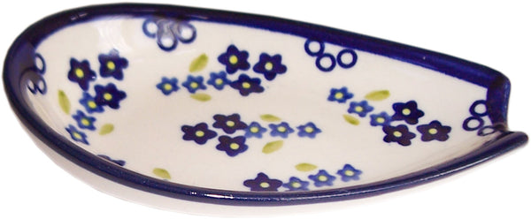 "Boleslawiec Polish Pottery UNIKAT Spoon Rest ""Forget Me Not"""