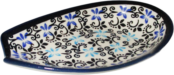 "Boleslawiec Polish Pottery UNIKAT Spoon Rest ""Martina"""