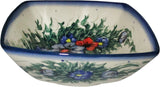 "Boleslawiec Polish Pottery Unikat Serving or Ice Cream Square Bowl ""Wild Field"""