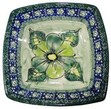 "Boleslawiec Polish Pottery Unikat Serving or Ice Cream Square Bowl ""Green Garden"""