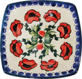 "Boleslawiec Polish Pottery Unikat Serving or Ice Cream Square Bowl ""Poppy Field"""
