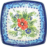 "Boleslawiec Polish Pottery Unikat Serving or Ice Cream Square Bowl ""Veronica"""