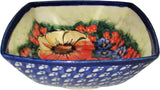 "Boleslawiec Polish Pottery Unikat Serving or Ice Cream Square Bowl ""Flower Field"""