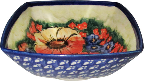 Boleslawiec Polish Pottery Unikat Serving or Ice Cream Square Bowl