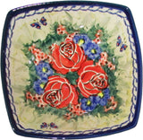 "Boleslawiec Polish Pottery Unikat Serving Bowl or Ice Cream Square Bowl ""Wild Roses"""