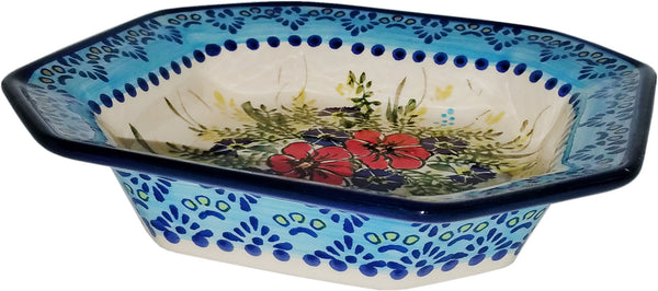 "Boleslawiec Polish Pottery Unikat Square Serving Bowl ""Veronica"""