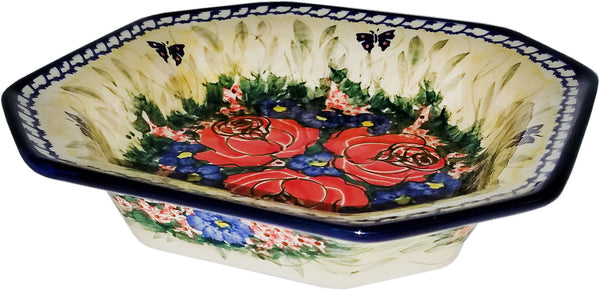 "Boleslawiec Polish Pottery Unikat Square Serving Bowl ""Wild Roses"""
