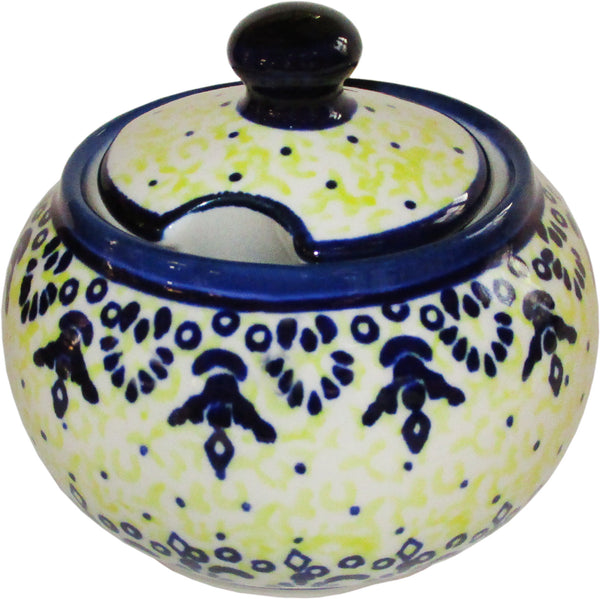 "Boleslawiec Polish Pottery UNIKAT Sugar Bowl ""Lace"""