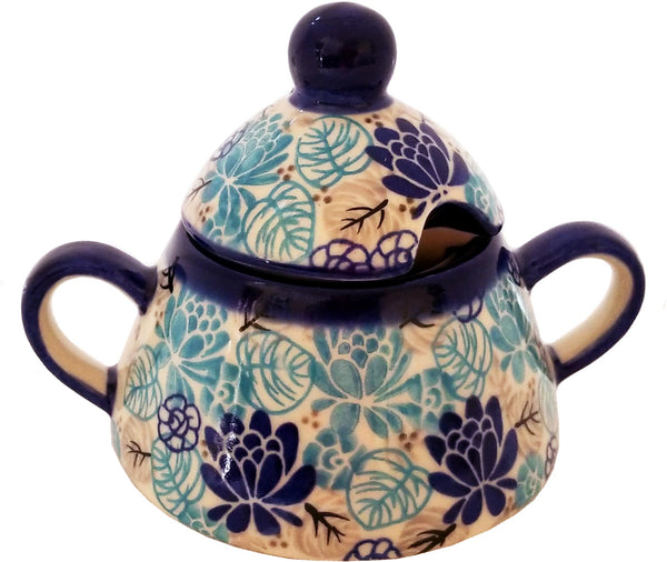 "Boleslawiec Polish Pottery UNIKAT Sugar Bowl Honey Pot ""Lotus Symphony"" from Eva's Collection"