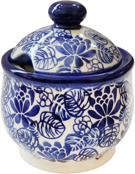 "Boleslawiec Polish Pottery UNIKAT Sugar Bowl Honey Pot ""Madeline"" from Eva's Collection"
