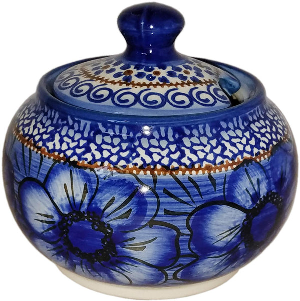 "Boleslawiec Polish Pottery UNIKAT Sugar Bowl ""Blue Garden"""